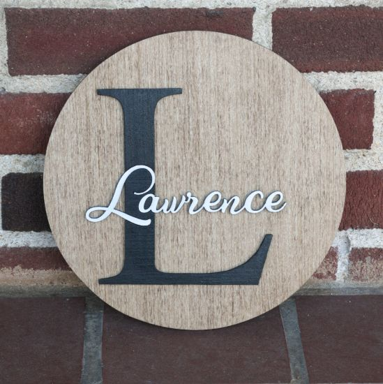 Picture of Personalized Round Raised Letter Family Name Sign